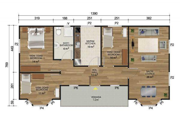 106 m2 Prefabrik Ev Planları