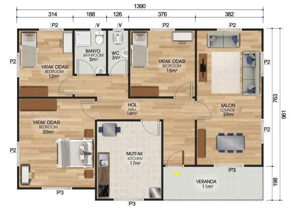 122 m2 Prefabrik Ev Planları