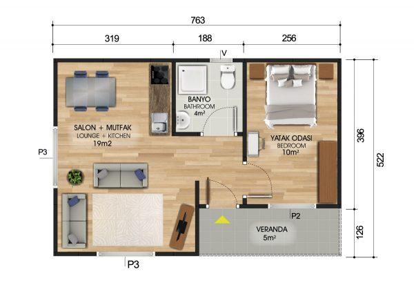 40 m2 Prefabrik Ev Teknik Çizimi