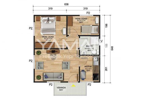 45 m2 Prefabrik Ev Planı