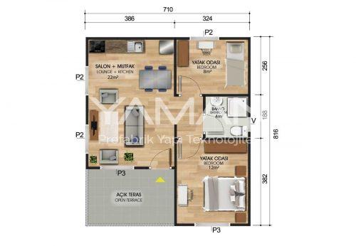 49 m2 Prefabrik Ev Planları