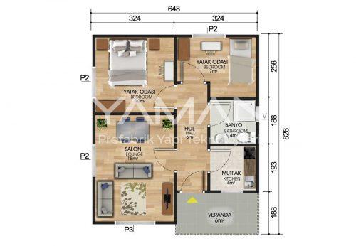 53 m2 Prefabrik Ev Planı