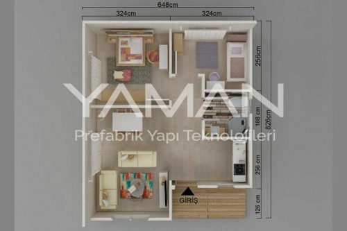 53 Metrekare Prefabrik Ev