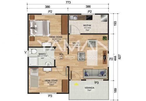 62 m2 Prefabrik Ev Planları
