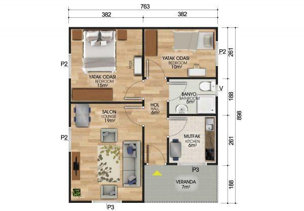 68 m2 Prefabrik Ev Planları