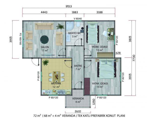 72 m2 Prefabrik Ev Planları