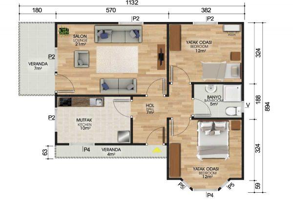 81 m2 Prefabrik Ev Planları