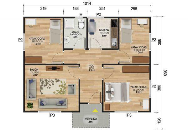 82 m2 Prefabrik Ev Planları