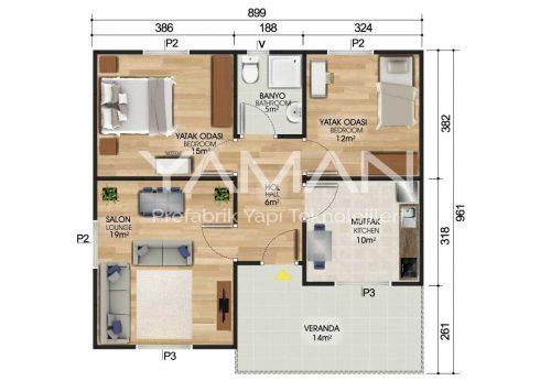 84 m2 Prefabrik Ev Planları