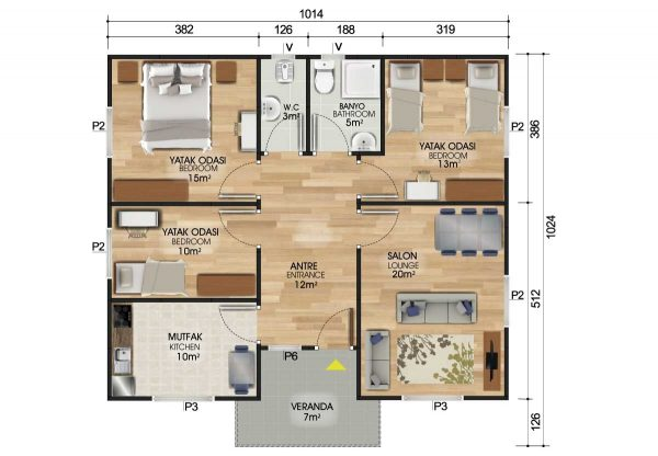 96 m2 Prefabrik Ev Planları