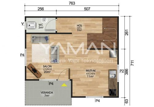 100 m2 Dubleks Prefabrik Ev Planları