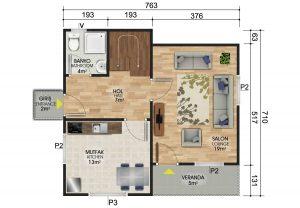 105 m2 Dubleks Prefabrik Ev Planları