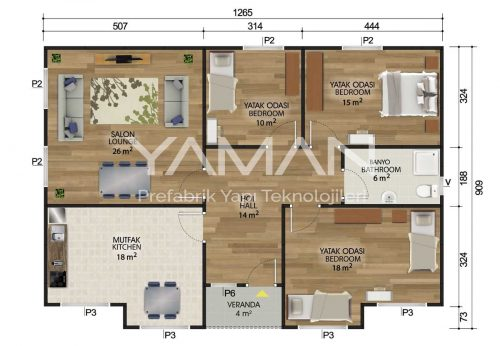 112 m2 Prefabrik Ev Planları