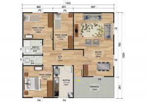 117 m2 Prefabrik Ev Planları