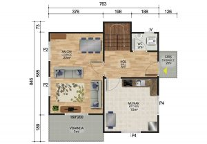 118 m2 Dubleks Prefabrik Ev Planları