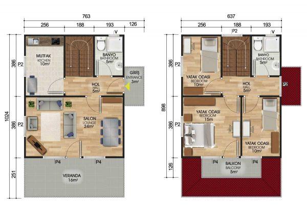 122 m2 Dubleks Prefabrik Ev Planları