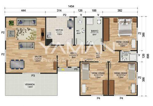 123 m2 Prefabrik Ev Planları