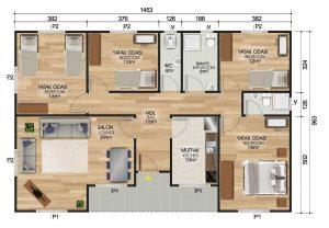 129 m2 Prefabrik Ev Planları