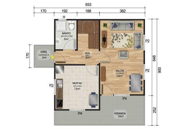 131 m2 Dubleks Prefabrik Ev Planları