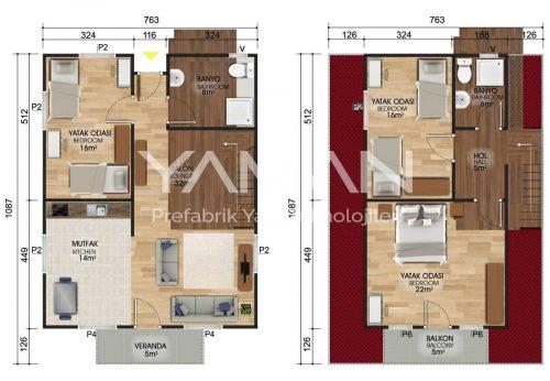 134 m2 Dubleks Prefabrik Ev Planları