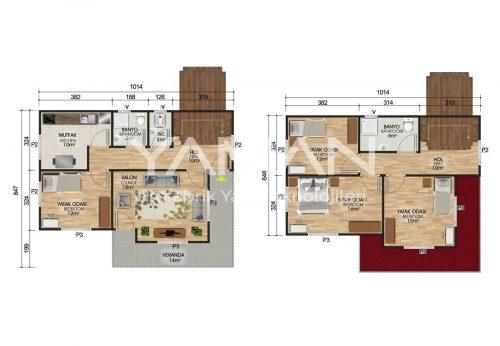 142 m2 Dubleks Prefabrik Ev Planları