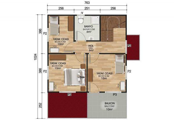 149 m2 Dubleks Prefabrik Ev Planları