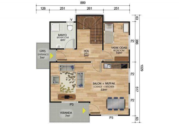 150 m2 Dubleks Prefabrik Ev Planları