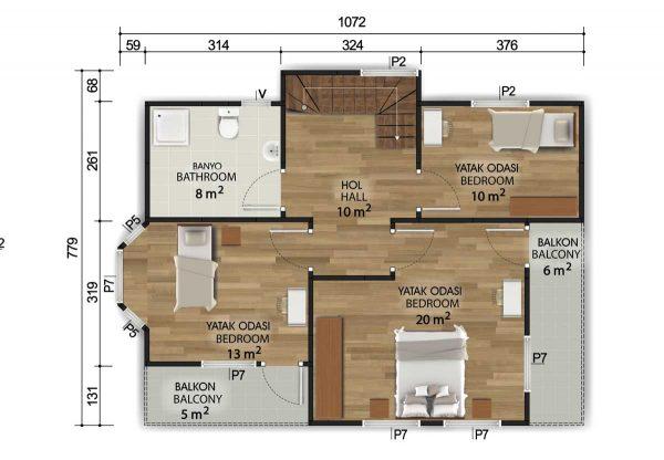 155 m2 Dubleks Prefabrik Ev Planları