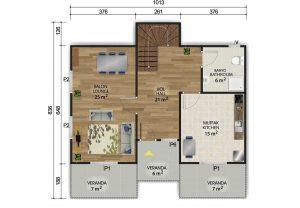 158 m2 Dubleks Prefabrik Ev Planları