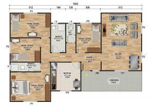 166 m2 Prefabrik Ev Planları