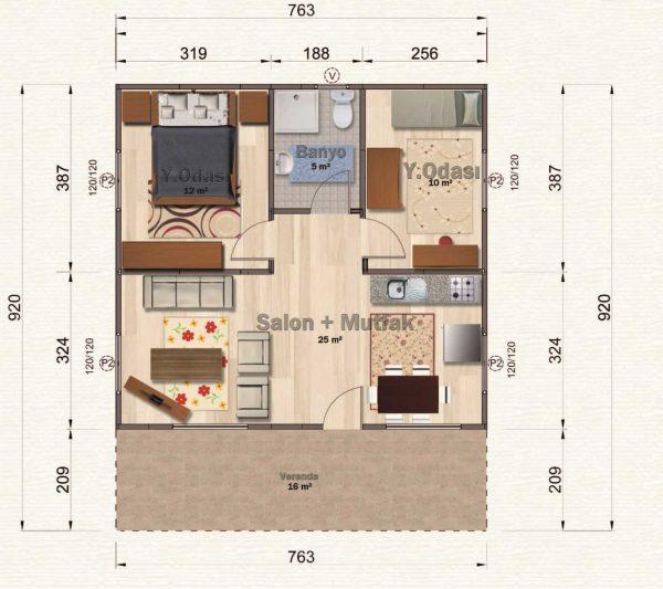 70 m2 Kampanyalı Prefabrik Ev Planları