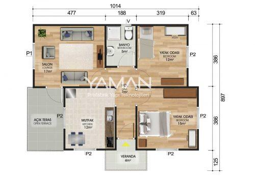72 m2 Prefabrik Ev Planı