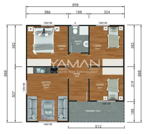 80 m2 Kampanyalı Prefabrik Ev Planları