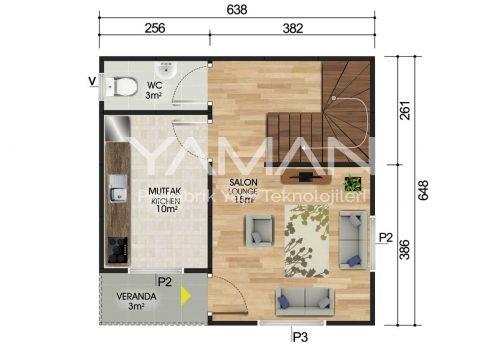 82 m2 Dubleks Prefabrik Ev Planları