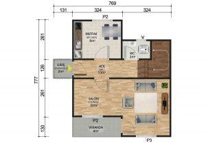 92 m2 Dubleks Prefabrik Ev Planları