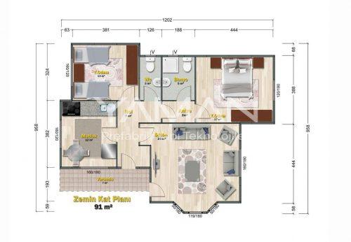 Ihlara Prefabrik Ev Planı