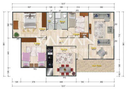 Saklıkent Prefabrik Ev Planı