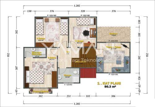 Konak Prefabrik Ev Planı
