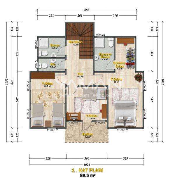 Safranbolu Prefabrik Ev Planı